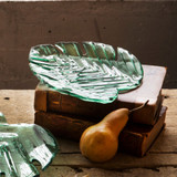 Annieglass Leaves Palm Frond Plate 8 3/4 x 7 1/2 Inch MPN: L302GR