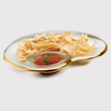Annieglass Gold Roman Antique Chip & Dip Bowl 17 x 12 1/2 Inch MPN: G133