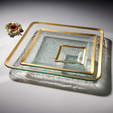 Annieglass Gold Roman Antique Small Square Dish 5 Inch MPN: G202