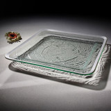 Annieglass Platinum Roman Antique Large Square Tray 15 3/4 Inch MPN: P204