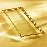 Annieglass Ruffle Gold Rectangular Tray 17 x 6 3/4 Inch MPN: G183