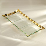 Annieglass Ruffle Gold Three Section Tray 15 x 6 3/4 Inch MPN: G184