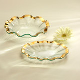 Annieglass Ruffle Gold Small Oval Tray 8 1/2 x 6 1/2 Inch MPN: G196