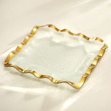Annieglass Ruffle Gold Square Tray 15 Inch MPN: G205