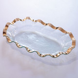 Annieglass Ruffle Gold Large Shallow Oval Bowl 19 x 12 Inch MPN: G218