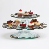 Annieglass Ruffle Platinum Pedestal Cake Plate (5 Inch High) 14 1/4 Inch MPN: P128
