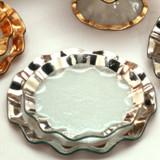 Annieglass Ruffle Platinum Salad Plate 9 1/2 Inch MPN: P129