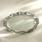 Annieglass Ruffle Platinum Dinner Plate 11 Inch MPN: P136