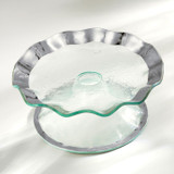 Annieglass Ruffle Platinum Petit Four Stand 9 1/2 Inch MPN: P139