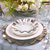 Annieglass Ruffle Platinum Buffet Plate 13 Inch MPN: P144