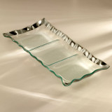 Annieglass Ruffle Platinum Three Section Tray 15 x 6 3/4 Inch MPN: P184