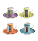 Vista Alegre Olhar O Brasil Set 4 Coffee Cups and Saucers Windows MPN: 21124684