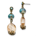 2369 Boutique Jewelry Fashion Brass-tone Glass Bead Dangle Post Earrings Black-tone by 1928 Jewelry MPN: BF2931