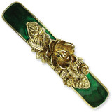 2371 Boutique Jewelry Fashion Brass-tone Green Enamel Bar Flower Barrette Black-tone by 1928 Jewelry MPN: BF522