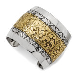 2386 Boutique Jewelry Fashion and Silver-tone Floral Cuff Bangle Gold-tone by 1928 Jewelry MPN: BF542