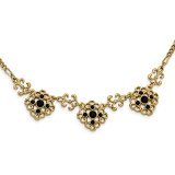 2390 Boutique Jewelry Fashion Black Glass Stone 16 Inch with 3 Inch Extension Necklace Gold-tone by 1928 Jewelry MPN: BF2939