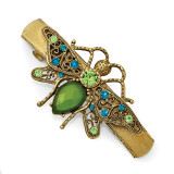 2391 Boutique Jewelry Fashion Blue and Green Crystal withAcrylic Green Stone Bee Hair Barrette Gold-tone by 1928 Jewelry MPN: BF2960