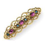 2392 Boutique Jewelry Fashion Blue and Purple Glass Stones Barrette Gold-tone by 1928 Jewelry MPN: BF308