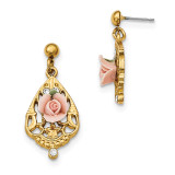 2397 Boutique Jewelry Fashion Bridal Crystal Porcelain Rose Dangle Post Earrings Gold-tone by 1928 Jewelry MPN: BF2925