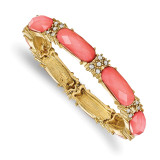 2399 Boutique Jewelry Fashion Coral Epoxy and Glass Stones Stretch Bracelet Gold-tone by 1928 Jewelry MPN: BF2947