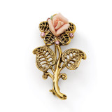 2461 Boutique Jewelry Fashion Pink Porcelain Rose Pink Crystal Pin Brooch Gold-tone by 1928 Jewelry MPN: BF175
