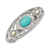 2490 Boutique Jewelry Fashion Acrylic Turquoise and Pearl Hair Barrette Silver-tone by 1928 Jewelry MPN: BF2918