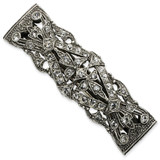 2491 Boutique Jewelry Fashion Antiqued Crystal Barrette Silver-tone by 1928 Jewelry MPN: BF346