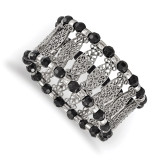 2494 Boutique Jewelry Fashion Black Acrylic Beaded Stretch Bracelet Silver-tone by 1928 Jewelry MPN: BF2985