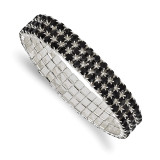 2501 Boutique Jewelry Fashion Black Glass Stone Stretch Bracelet Silver-tone by 1928 Jewelry MPN: BF2992