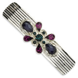 2502 Boutique Jewelry Fashion Blue and Dark Purple Crystal Barrette Silver-tone by 1928 Jewelry MPN: BF475