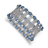 2504 Boutique Jewelry Fashion Blue Acrylic Beaded Stretch Bracelet Silver-tone by 1928 Jewelry MPN: BF3021