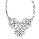 2506 Boutique Jewelry Fashion Blue Crystal 16 Inch with 3 Inch Extension Bib Necklace Silver-tone by 1928 Jewelry MPN: BF3015
