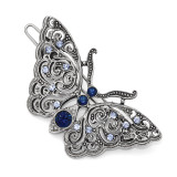 2508 Boutique Jewelry Fashion Blue Crystal Butterfly Hair Barrette Silver-tone by 1928 Jewelry MPN: BF3017