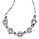 2514 Boutique Jewelry Fashion Blue Epoxy and Glass 16 Inch with 3 Inch Extension Necklace Silver-tone by 1928 Jewelry MPN: BF3016