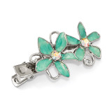 2533 Boutique Jewelry Fashion Crystal and Teal Enamel Hair Clip Silver-tone by 1928 Jewelry MPN: BF3044