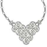 2534 Boutique Jewelry Fashion Crystal 16 Inch with 3 Inch Extension Bib Necklace Silver-tone by 1928 Jewelry MPN: BF2914