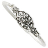 2546 Boutique Jewelry Fashion Crystal Hinged 7.25 Bangle Silver-tone by 1928 Jewelry MPN: BF350
