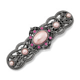 2621 Boutique Jewelry Fashion Pink Swarovski Elements and Pink Acrylic Stones Hair Barrette Silver-tone by 1928 Jewelry MPN: BF3036