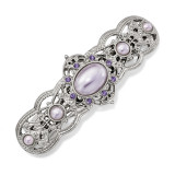 2622 Boutique Jewelry Fashion Purple Crystal and Purple Acrylic Stones Hair Barrette Silver-tone by 1928 Jewelry MPN: BF3023