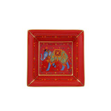 Halcyon Days Ceremonial Indian Elephant Square Tray Red BCCIE06STG EAN: 5060171154716