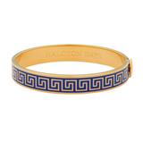 Halcyon Days Greek key Deep Cobalt Gold 1cm Hinged Bangle HBGRK1810G EAN: 5060171155751
