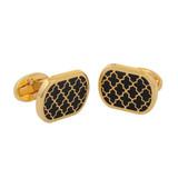 Halcyon Days Agama Rectangle Black Gold Cufflinks CLAGA02RTG EAN: 5060171155669