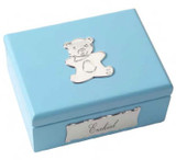 Cunill Barcelona Lilac Teddy Bear Keepsake Box 3 x 4 Inch - Sterling Silver MPN: CML3223