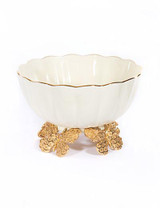 Jay Strongwater Catalina Gold Porcelain Fluted Butterfly Bowl MPN: SDH2441-292