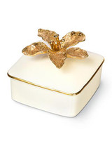 Jay Strongwater Eleanor Gold Lily Porcelain Box MPN: SDH7353-292