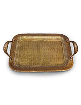 Jay Strongwater Abbott Amber Rattan Metal Tray MPN: SDH2427-274