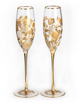 Jay Strongwater Isabelle Platinum Floral Vine Champagne Glasses Set of Two MPN: SDH2413-295