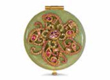 Jay Strongwater Elizabeth Rose Celadon Flower Jeweled Compact Mirror MPN: SCB8412-272