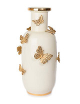 Jay Strongwater Heather Gold Porcelain RoundedButterfly Vase MPN: SDH2438-292