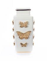 Jay Strongwater Myra Gold Porcelain RectangularButterfly Vase MPN: SDH2437-292